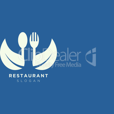 Vector design of a restaurant logo with spoons, leaves and forks. For food, beverage, restaurant product labels