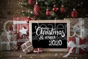Christmas Tree, Gift, Snowflakes, Text Merry Christmas And A Happy 2020