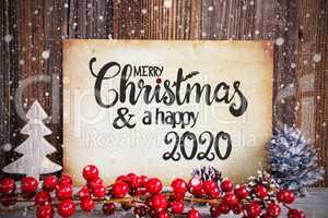 Christmas Decoration, Paper Merry Christmas And Happy 2020, Snow
