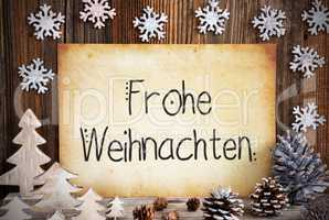 Old Paper, Christmas Decoration, Frohe Weihnachten Means Merry Christmas