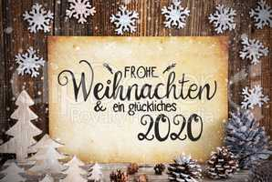 Old Paper, Christmas Decoration, Glueckliches 2020 Means Happy 2020, Snowflakes