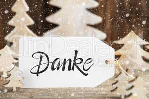 Christmas Tree, Label, Danke Means Thank You, Snowflakes