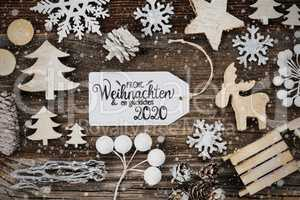 Label, Frame, Decoration, Glueckliches 2020 Means Happ 2020, Snowflakes