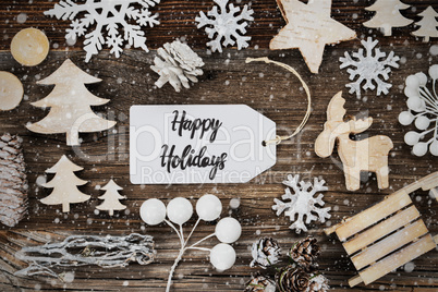 Label, Frame Of Christmas Decoration, Text Happy Holidays, Snowflakes
