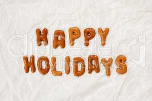 Gingerbread Letters, Text Happy Holidays, White Background