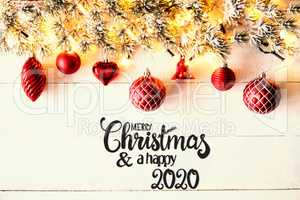 Red Christmas Decoration, Fir Branch, Merry Christmas And Happy 2020