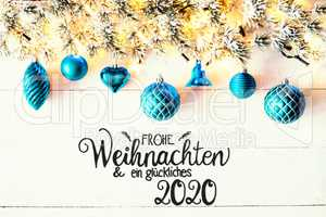 Turquoise Christmas Decoration, Fir Branch, Glueckliches 2020 Means Happy 2020