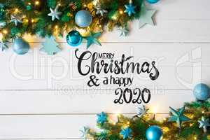 Turqouise Christmas Decoration, Fairy Lights, Merry Christmas And A Happy 2020