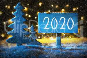 Blue Christmas Tree, Text 2020, Snowflakes