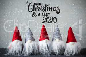 Santa Claus With Hat, Merry Christmas And A Happy 2020, Snowflakes