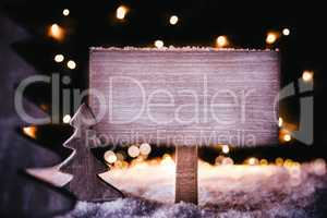 Christmas Tree, Snowflakes, Copy Space, White Wooden Sign, Snow