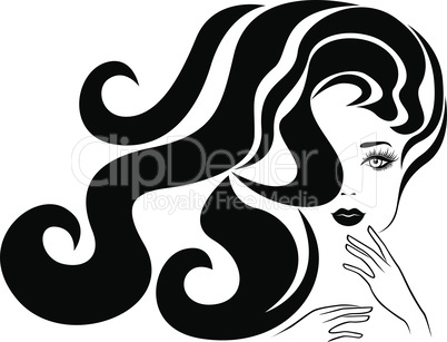 Charming woman with long hair in flow