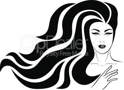Adorable and elegant woman with luxury windy hair