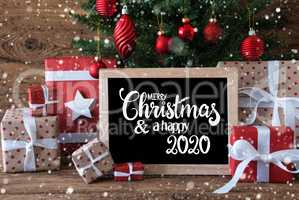 Christmas Tree, Snowflake, Gift, Text Merry Christmas And A Happy 2020