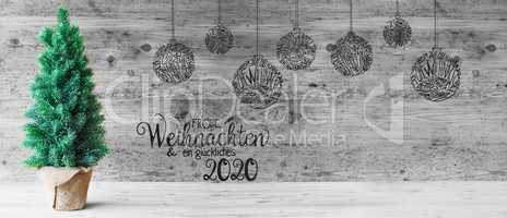 Christmas Tree, Ball, Glueckliches 2020 Means Happy 2020, Black And White
