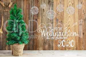 Christmas Ornament, Tree, Calligraphy Frohe Weihnachten Means Merry Christmas