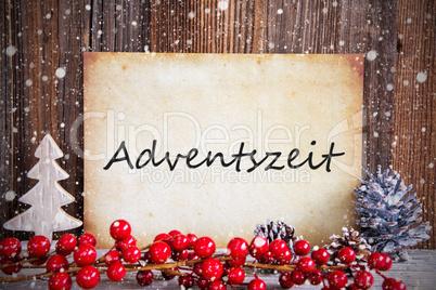 Christmas Decoration, Paper With Text Adventszeit Means Advent Season, Snow