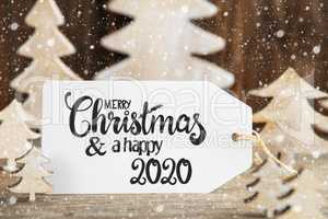 Christmas Tree, Label With Merry Christmas And Happy 2020, Snowflakes