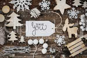 Label, Frame Of Christmas Decoration, Text Thank You, Snowflakes