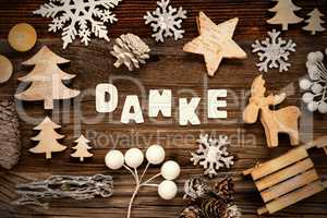 Wooden Christmas Decoration, Danke Means Thank You, Tree And Sled