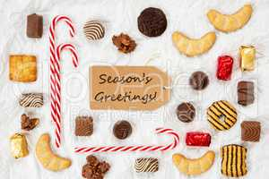 Candy Christmas Collection, Label, Text Seasons Greetings