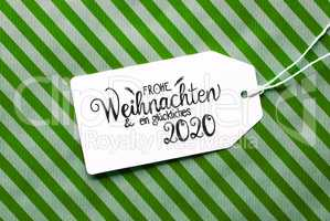 Green Wrapping Paper, Label, Glueckliches 2020 Means Happy 2020
