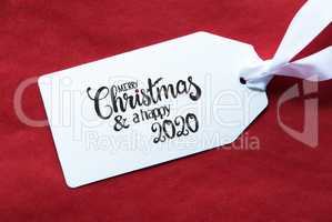 Red Background, Label, Merry Christmas And A Happy 2020