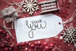 Red Christmas Decoration, Label With Thank You