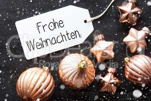 Label, Golden Decoration, Frohe Weihnachten Means Merry Christmas, Snowflakes