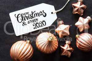 One Label, Golden Christmas Decoration, Merry Christmas And A Happy 2020