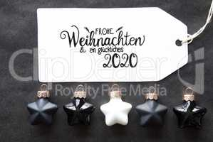 Black Christmas Ball, Label, Glueckliches 2020 Means Happy 2020