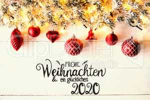 Red Christmas Decoration, Fir Branch, Glueckliches 2020 Means Happy 2020