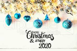 Turqouise Christmas Decoration, Fir Branch, Merry Christmas And Happy 2020