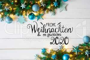 Turqouise Christmas Decoration, Fairy Lights, Glueckliches 2020 Means Happy 2020