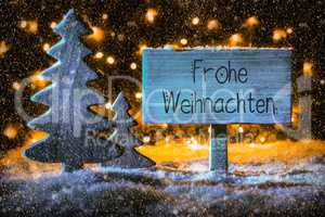 Wooden Sign, Tree, Snow, Calligraphy Frohe Weihnachten Means Merry Christmas