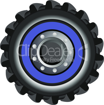 Vector tractor tire. Wheel of farmer cartoon tractor isolated on white background