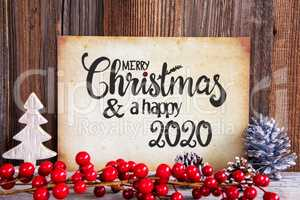 Christmas Decoration, Paper Merry Christmas And Happy 2020