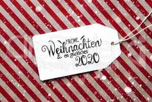 Red Wrapping Paper, Label, Glueckliches 2020 Means Happy 2020, Snowflakes