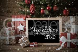 Christmas Tree, Present, Text Glueckliches 2020 Means Happy 2020,Snowflakes