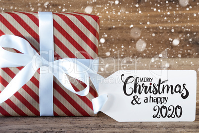 Christmas Present, Label, Merry Christmas And A Happy 2020, Snowflakes