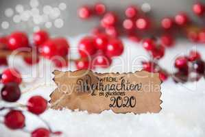 Red Christmas Decoration, Snow, Label, Glueckliches 2020 Means Happy 2020