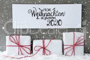 Three Gifts, Sign, Snow, Glueckliches 2020 Means Happy 2020, Snowflakes