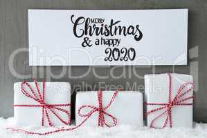 Three Gifts, Sign, Snow, Merry Christmas And A Happy 2020