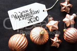 One Label, Golden Christmas Decoration, Glueckliches 2020 Means Happy 2020