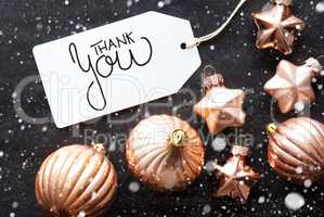 Label, Golden Christmas Decoration, Thank You, Snowflakes