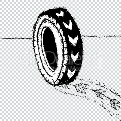 Wheel with heart tyre object. Love car concept idea vector tire illustration.