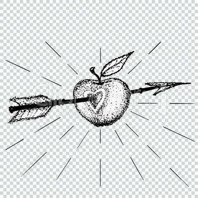 Apple target pierced with arrow in heart dot work. Love sticker, print or blackwork flash tattoo art design hand drawn vector illustration