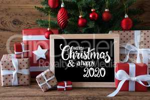 Christmas Tree, Gift, Text Merry Christmas And A Happy 2020
