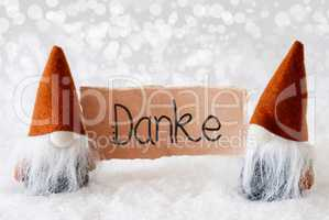 Santa Claus, Orange Hat, Danke Means Thank You, Gray Background