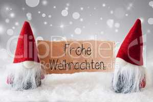 Santa Claus, Red Hat, Frohe Weihnachten Means Merry Christmas, Gray Background